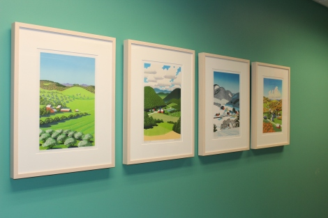Four prints hanging in the parent child room at 50 Joy Drive