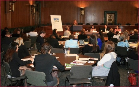 Barbara (on far right of presenter's table) at the policy briefing on Capitol Hill.