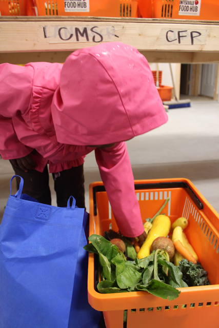 Loading up the vegetables into our reusable shopping bags,