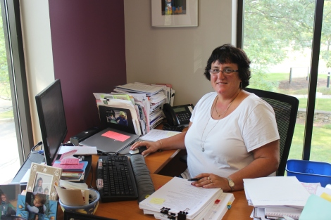 Wanda in her office in Lund's new building at 50 Joy Drive.