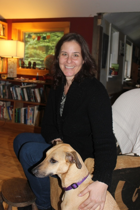 Anjanette and her dog Charlotte at their home in Huntington