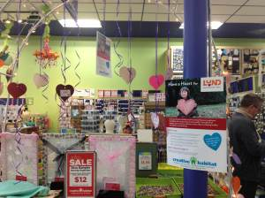 The display at Creative Habitat holds the hearts with the wishlist items,