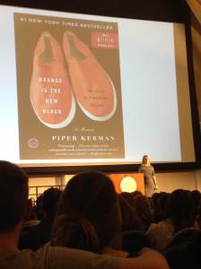Piper Kerman on stage at UVM's Davis Center March 25, 2014.