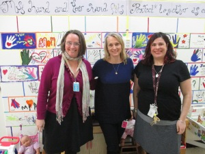 Crystal Fisher and Jess Kell of Kids-A-Part with Piper Kerman in the Kids-A-Part space at the Chittenden Regional Correctional Facility