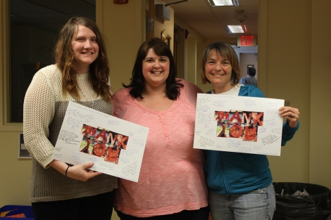 Mary Farnsworth, Learning Together Coordinator Tammy Santamore and Kathy Rossman display their appreciation cards.