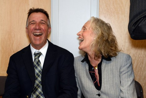 Lieutenant Governor Phil Scott and Campaign Co-Chair Melinda Moulton share a moment of joy.