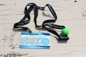 The green ball on this lanyard is the same size as a newborn's stomach on the first day of life.  Lund staff use this as a teaching tool when talking about colostrum and the benefits of breastfeeding.