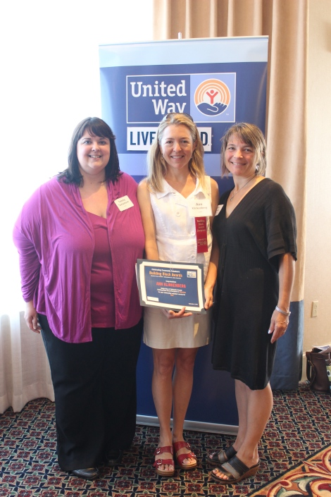 Learning Together Coordinator Tammy Santamore and NHEP teacher Kathy Rossman with Ann Klinkenberg (center)