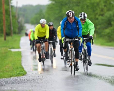 Look at the raindrops flying from the speeding wheels of these dedicated 55 mile cyclists!