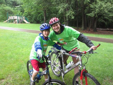 Will and his Dad getting ready to take off from the Family Ride rest stop