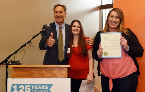 Governor Shumlin with Chelsea Mitchell and Megan Clogdo after signing the Proclamation and making Lund Day official
