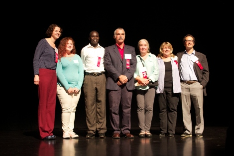 Phyllis (third from right) with the other winners of the United Way Building Blocks Awards for Education at the Flynn Theater, September 24, 2015.