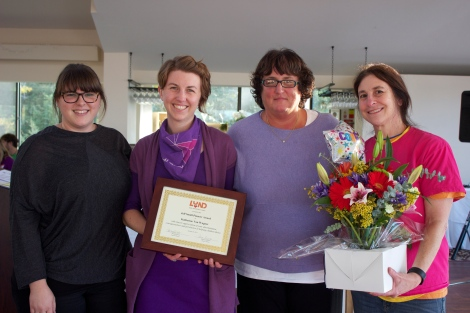 Julia Conner, Kate Van Wagner, Wanda Audette and Barbara Rachelson at the All Staff Retreat on October 23, when Kate was announced as the Jeff Small Pioneer Award Winner for 2015.